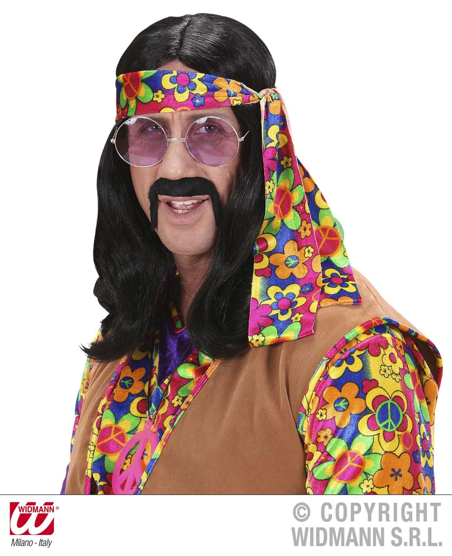 Hippie Perucke 70er Herren Blond Schwarz Braun Karneval Motto