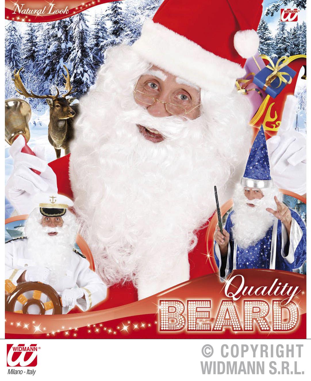 Weihnachtsmann Bart, Zauberer,  Locken Bart lang, weiß Qualitätsware