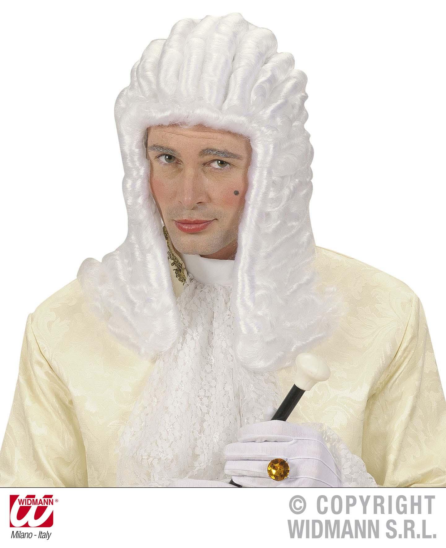 Casanova, Richter, Rokoko Qualitäts Perücke, weiß