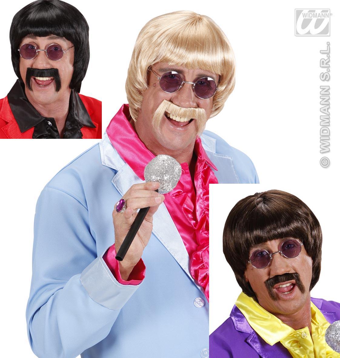 60er Jahre Set Bubikopf Perücke,Schnauzer u. Brille,schwarz,braun,blond