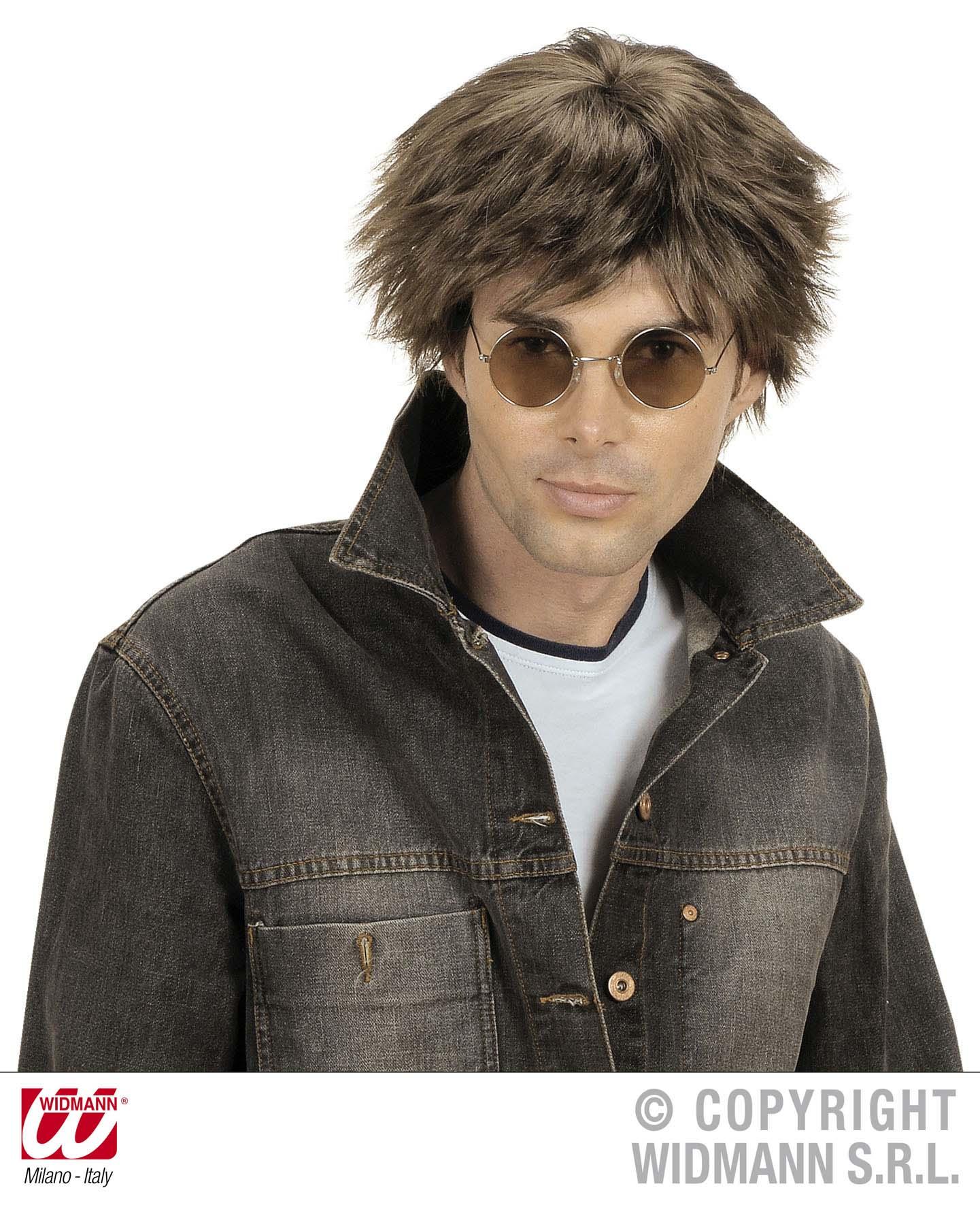 Beat, Rock, 80er 90er Perücke Herren kurz schwarz, braun, blond