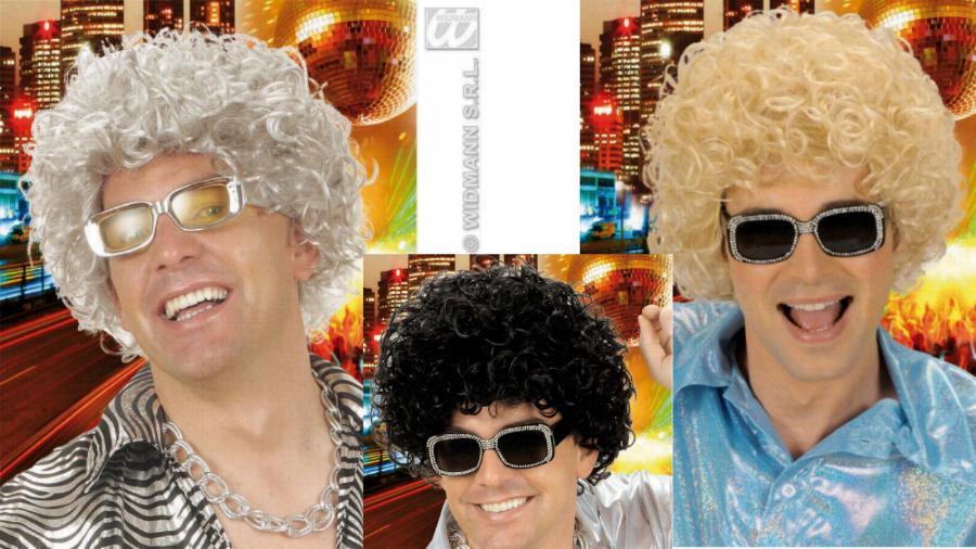 70er 80er Perücke Herren,Locken Perücke  grau, blond, schwarz  767
