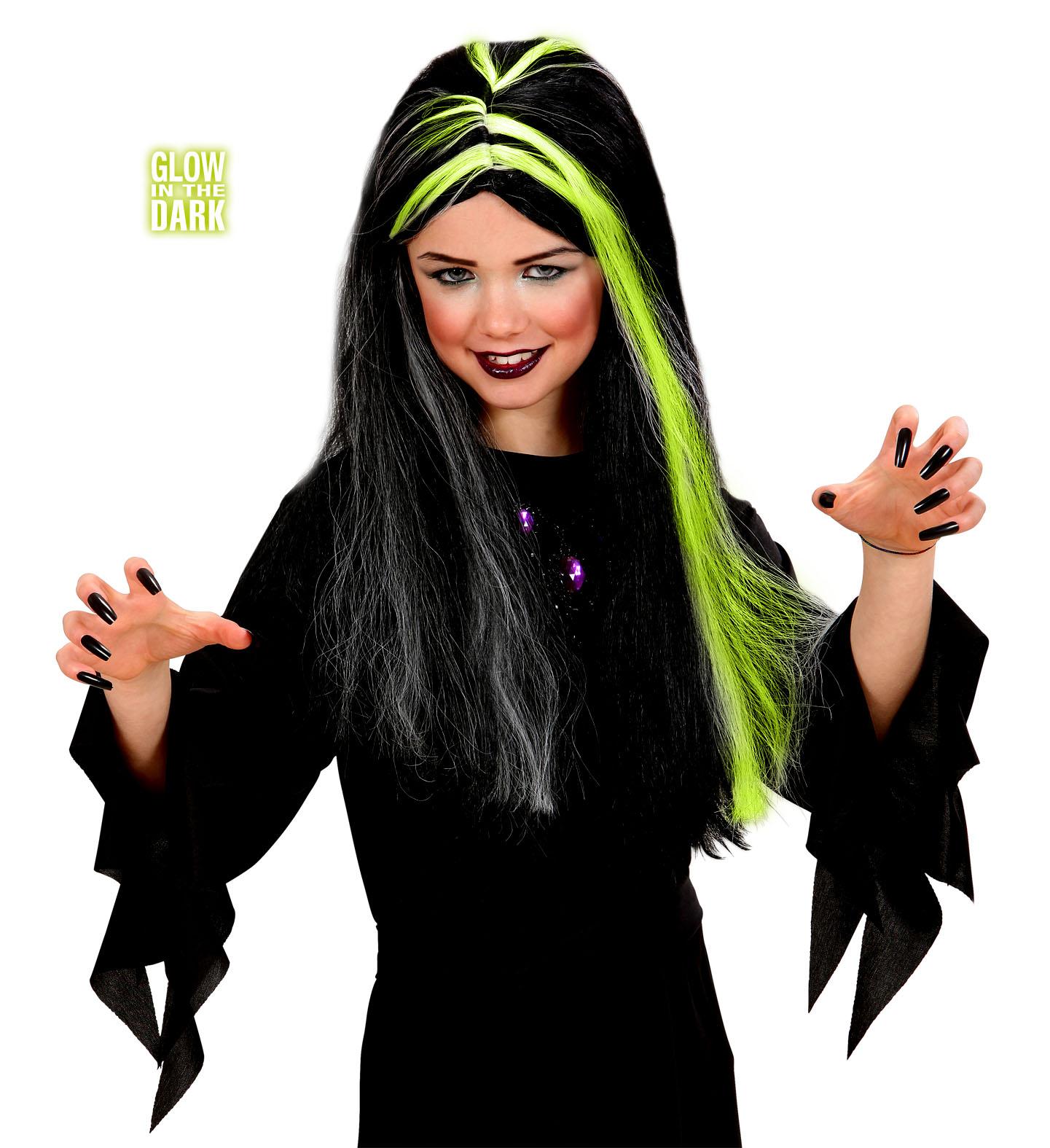 Hexenperücke schwarz,Hexe, Kinder.Strähnen leuchten im Dunkeln