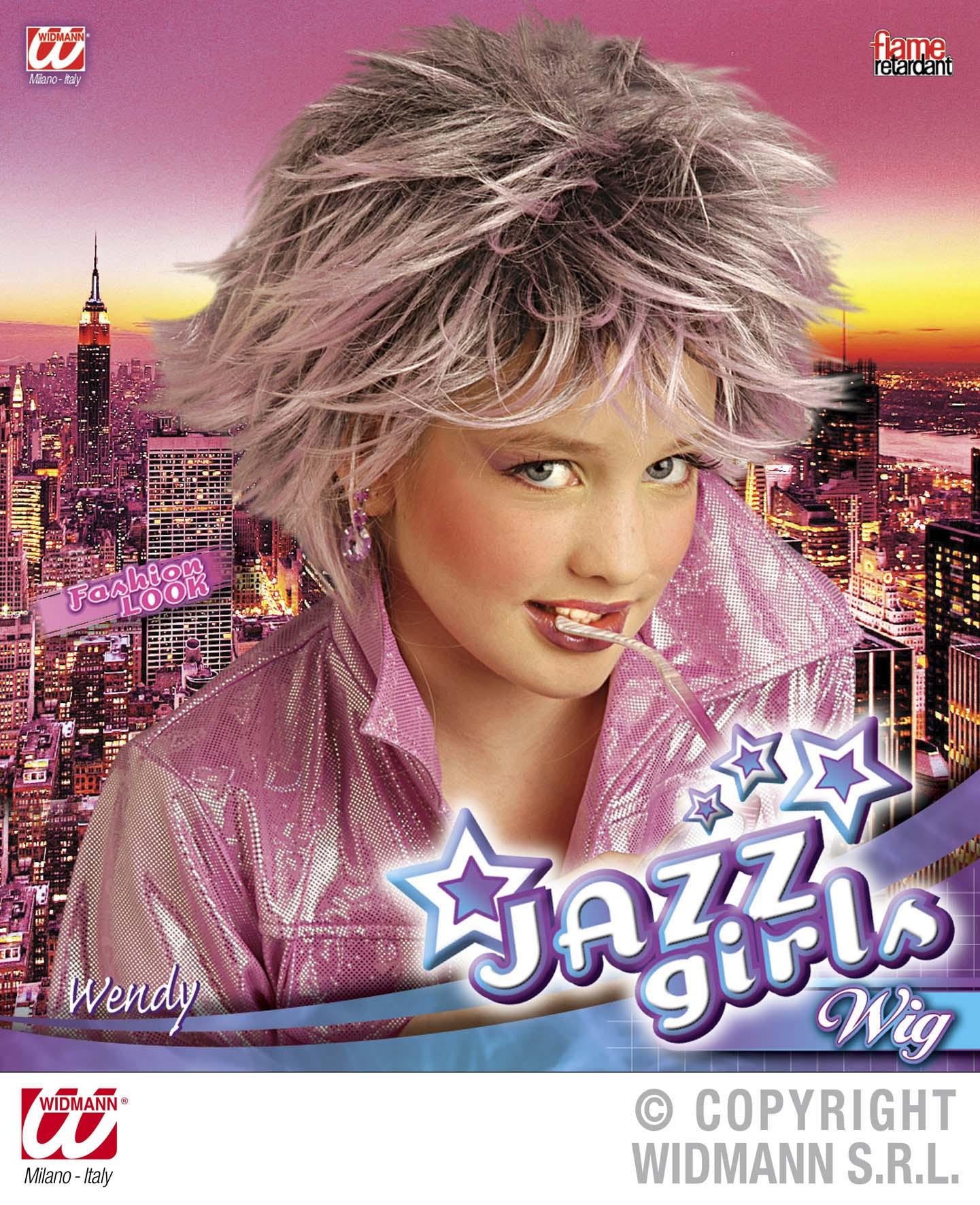 Perücke Disco Queen,Jazz Girl Kinder lila gesträhnt schwer entflammbar