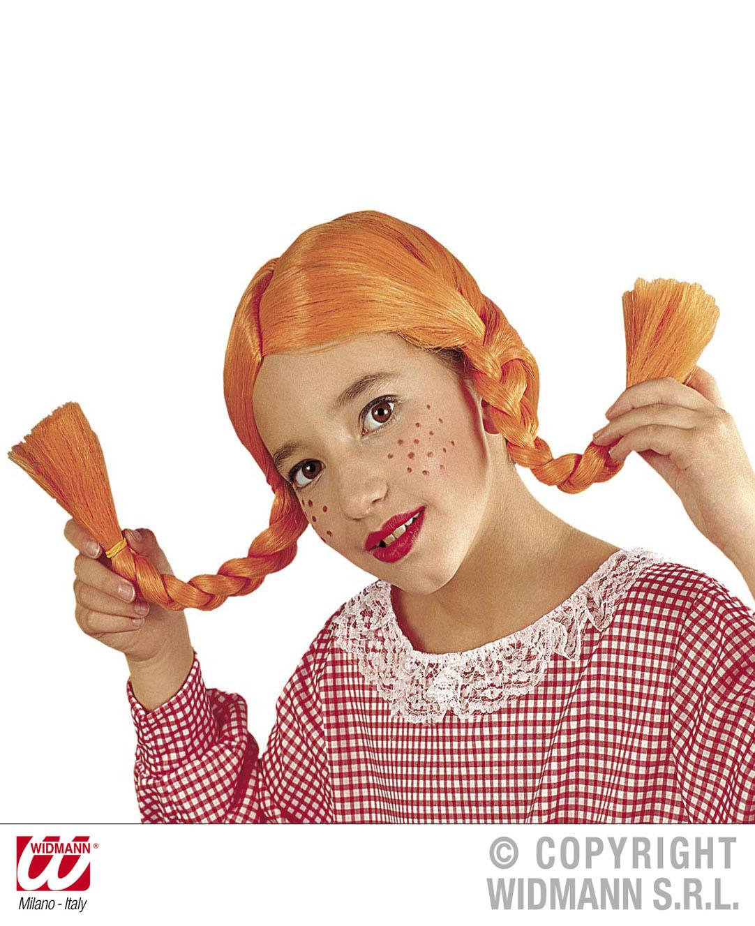 Perücke freche Göre Zopfperücke orange Kinder schwer entflammbar