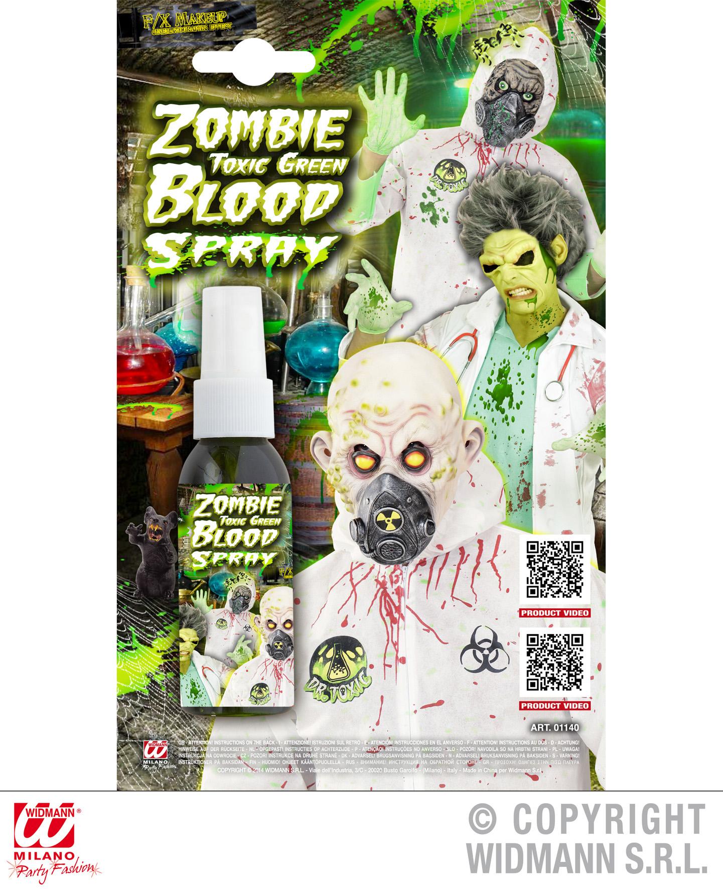 Grünes toxisches Zombieblut SPRAY Theaterblut, Blut Flasche HALLOWEEN