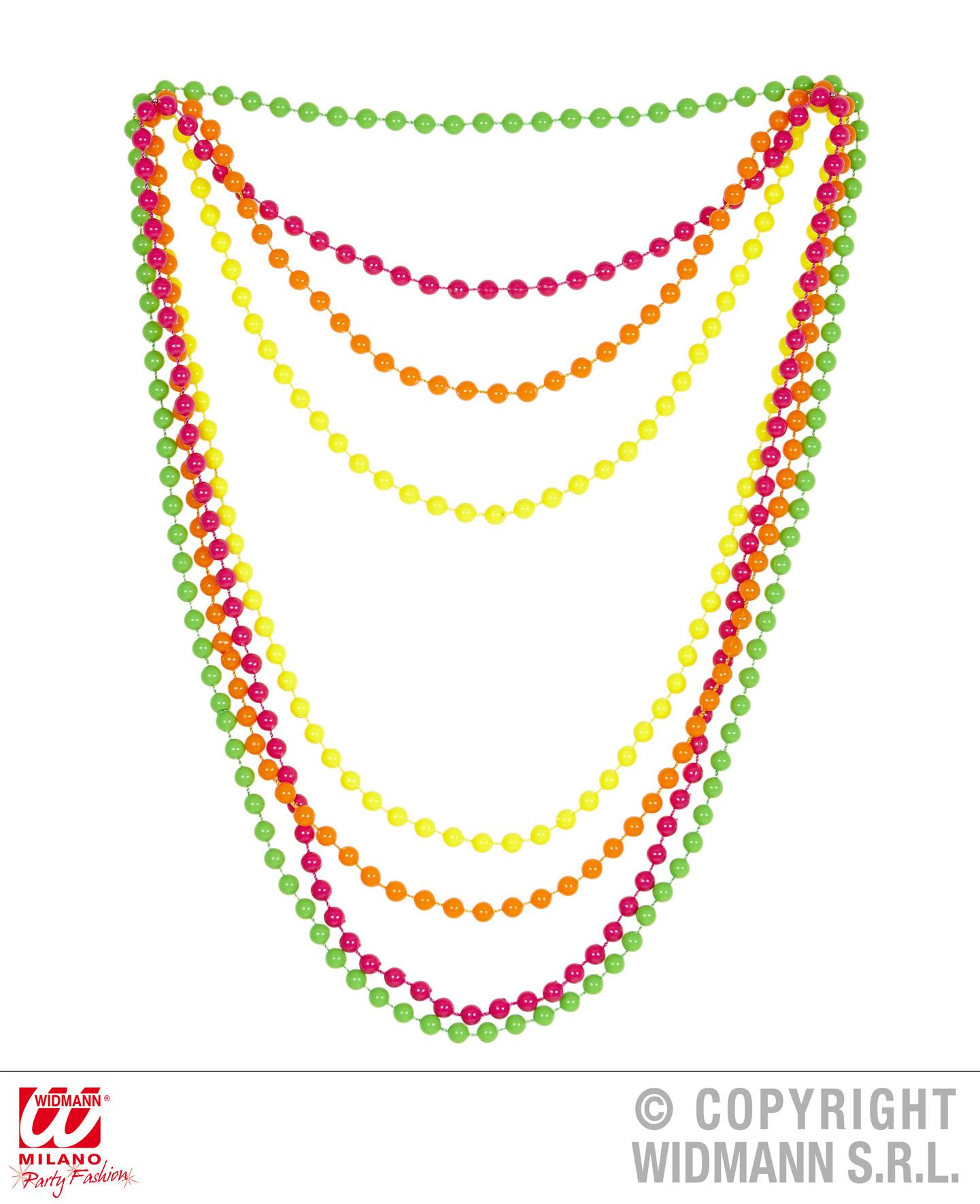 80er Jahre bunte 4er Perlenkette Neon