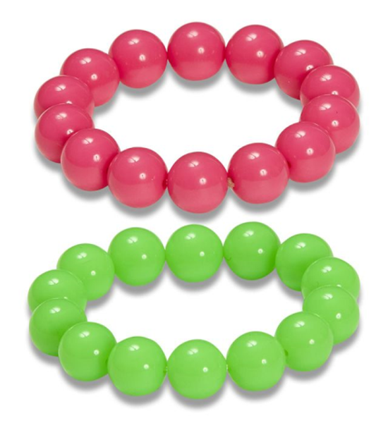 2er Set 80er Jahre bunte Perlenarmband Neon grün-pink