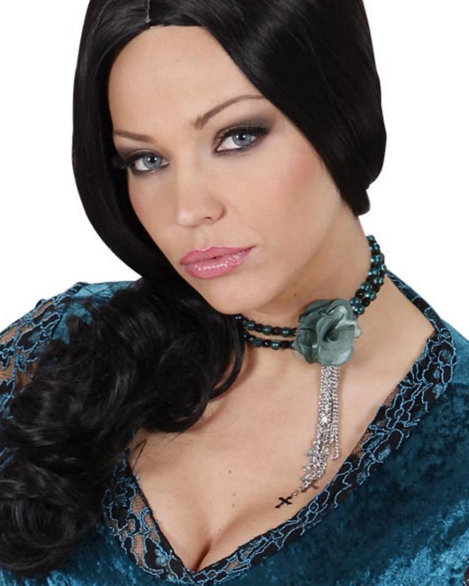Gothic, Vampir, Halskette mit gotischer Blume, Perlen Kreuzkettchen Modeschmuck