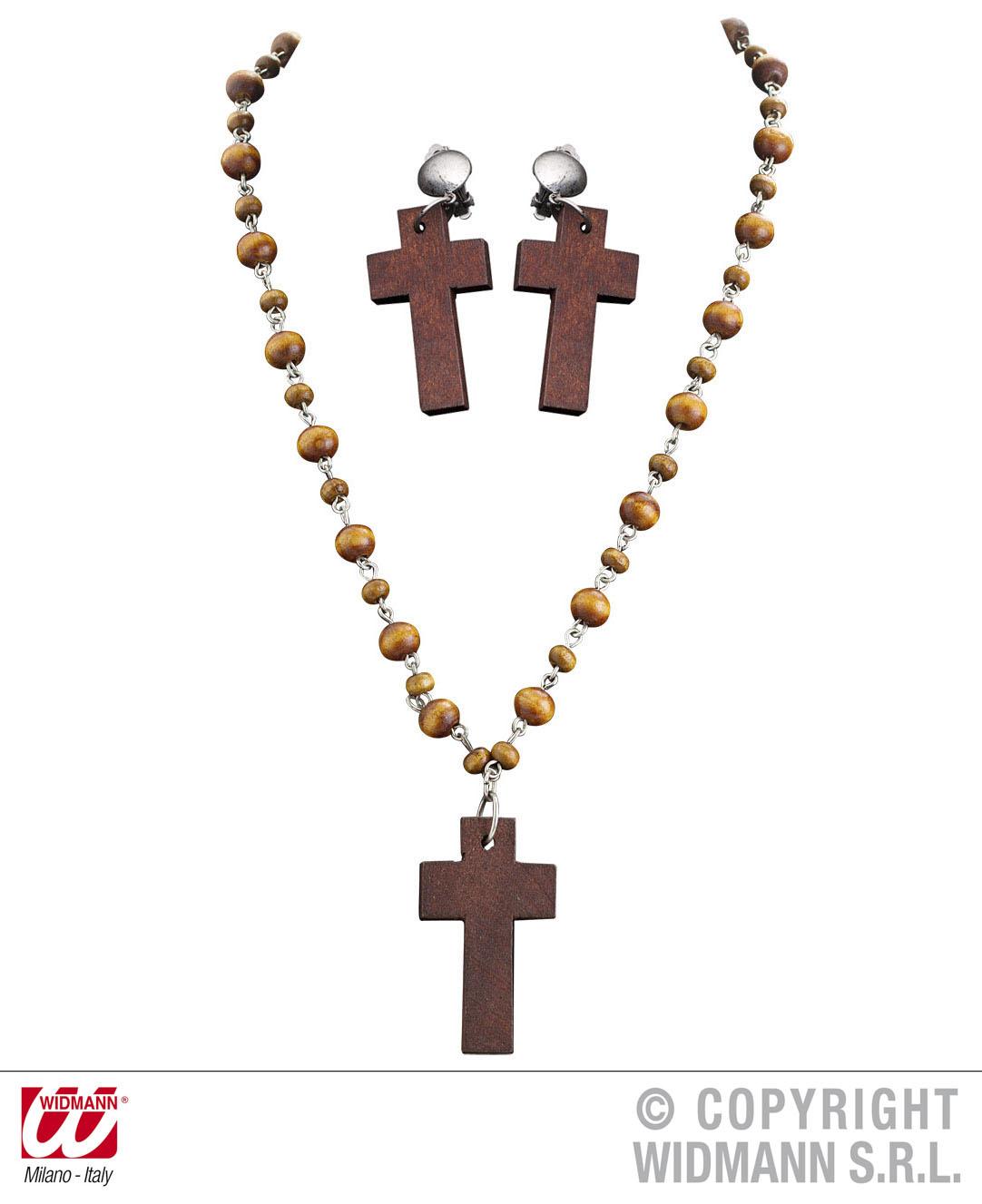 3 tlg Nonnenkette, Holzkreuz, Rosenkranz u.Ohrclipse mit Kreuz