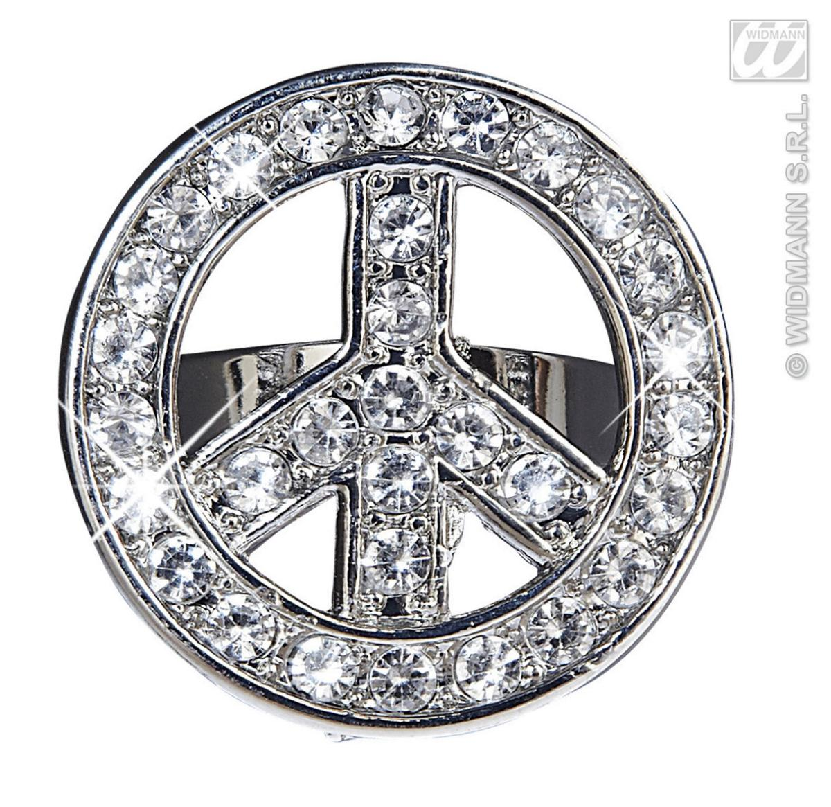 70 er Jahre Peace Ohrclips u. Ring silber Hippie, Flower, Karneval, Motto