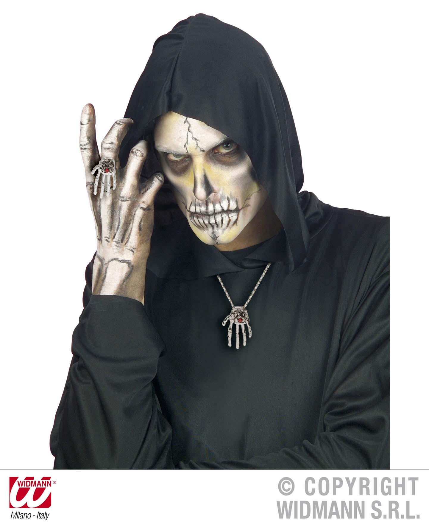 2tlg Halskette + Ring Skeletthand, silber, Zombie, Vampir Gothic Halloween