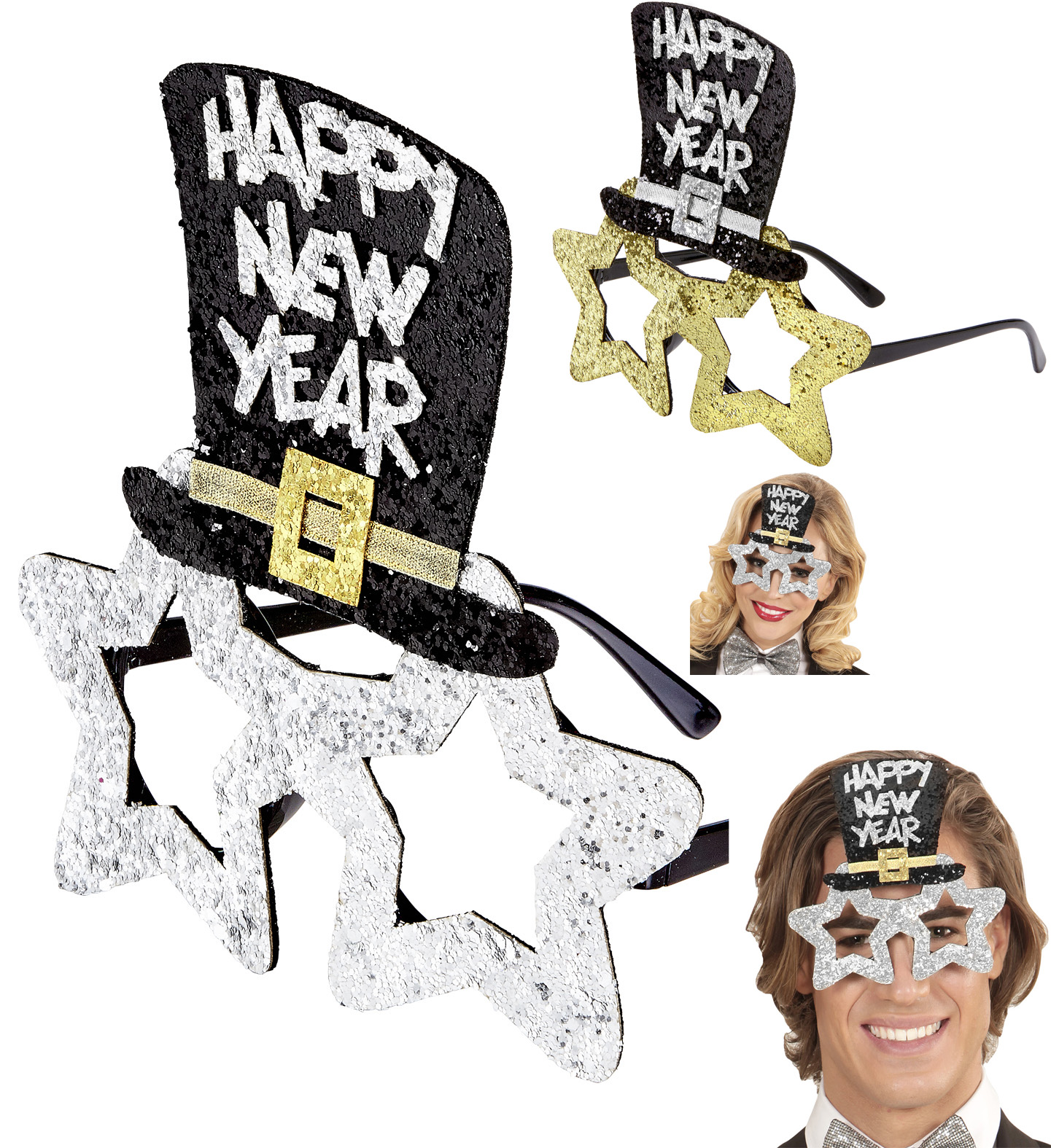 2 x Happy New Year Brille  SILBER u. GOLD Sterne Zylinder, Silvester Party