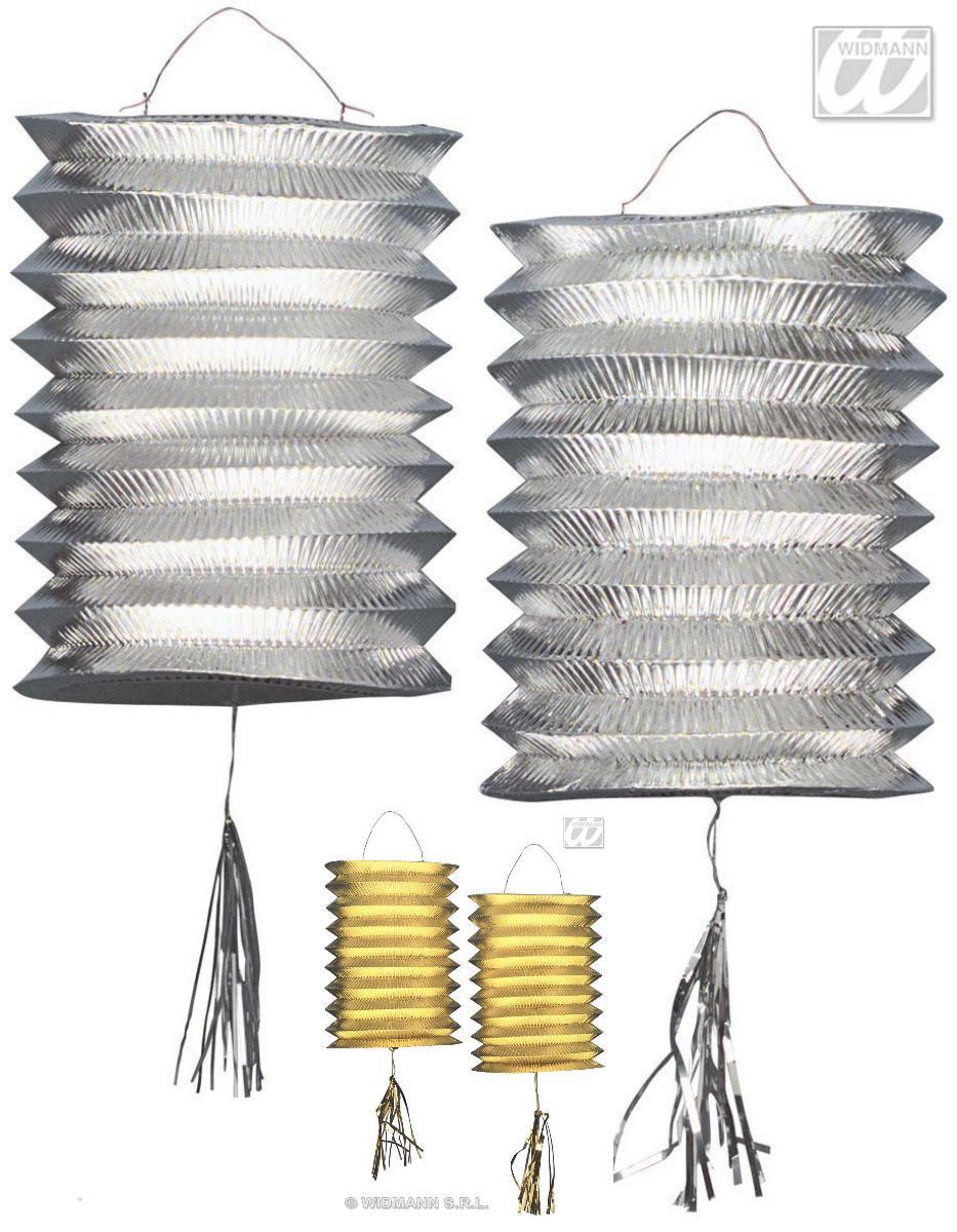 2 Laternen GOLD o. SILBER Metallic, Lampion, Silvester, Party, Deko,Hochzeit