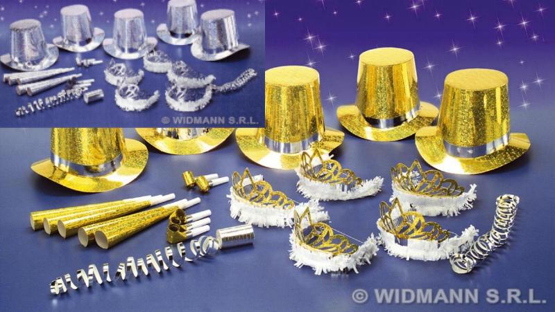 30tlg.Silvester Holografie Party Zylinder,Krone,Trompete.10 Personen SILBER GOLD
