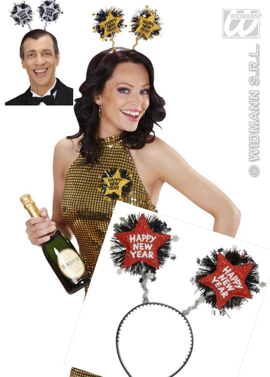SILVESTER, Party HAARREIF,  Happy New Year Sterne, gold, silber ,rot