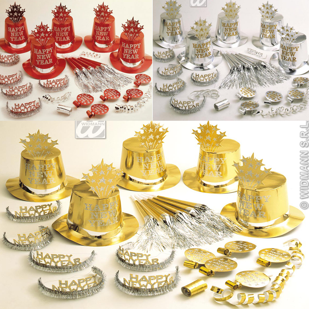 30tlg.Silvester Party Set,Zylinder, Krone,Trompete..10 Personen SILBER, GOLD ROT