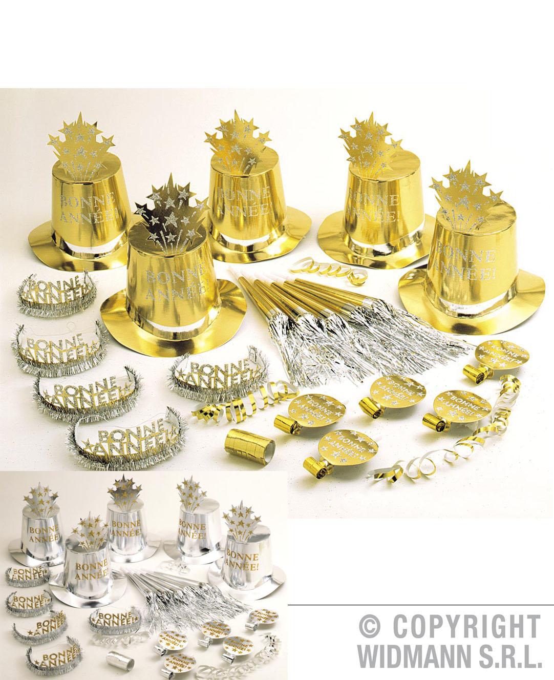30tlg.Silvester Party Set,Zylinder,Krone,Trompete..10 Personen silber,gold