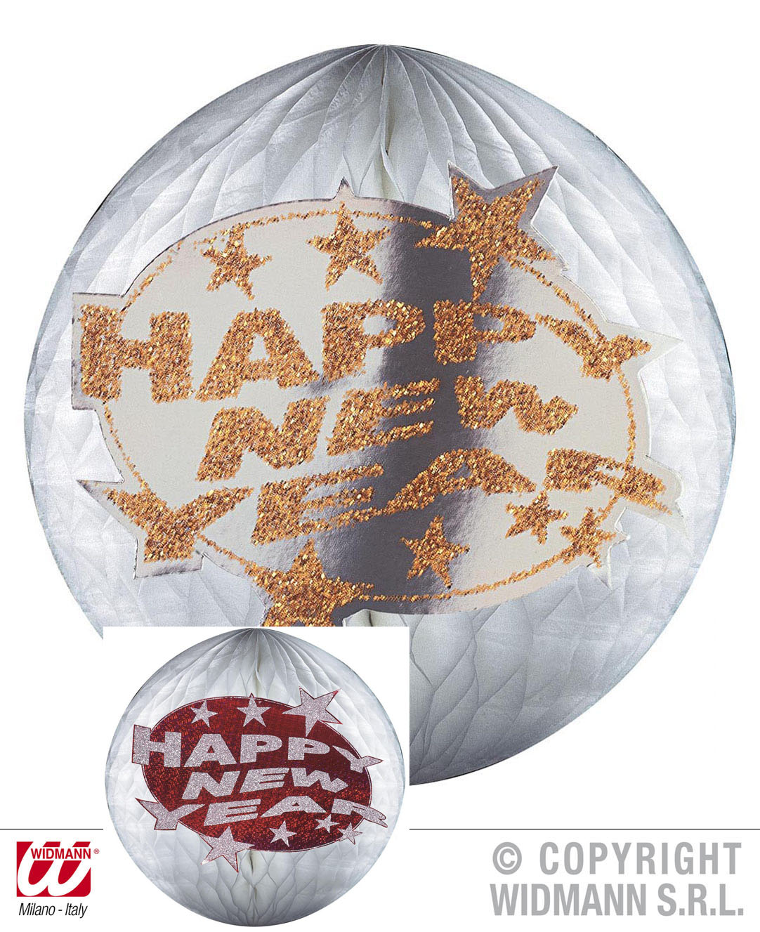 2 x SILVESTER Deko Bienenwabe,Lampion Globus silber rot gold HAPPY NEW YEAR