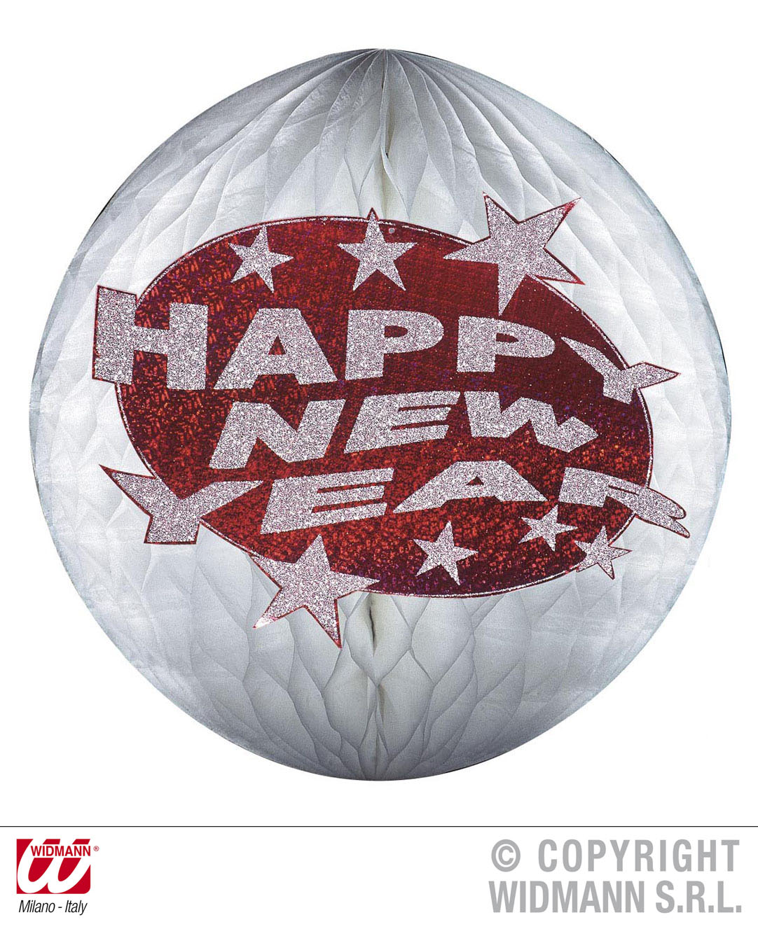SILVESTER Deko Bienenwabe,Lampion Globus silber rot HAPPY NEW YEAR