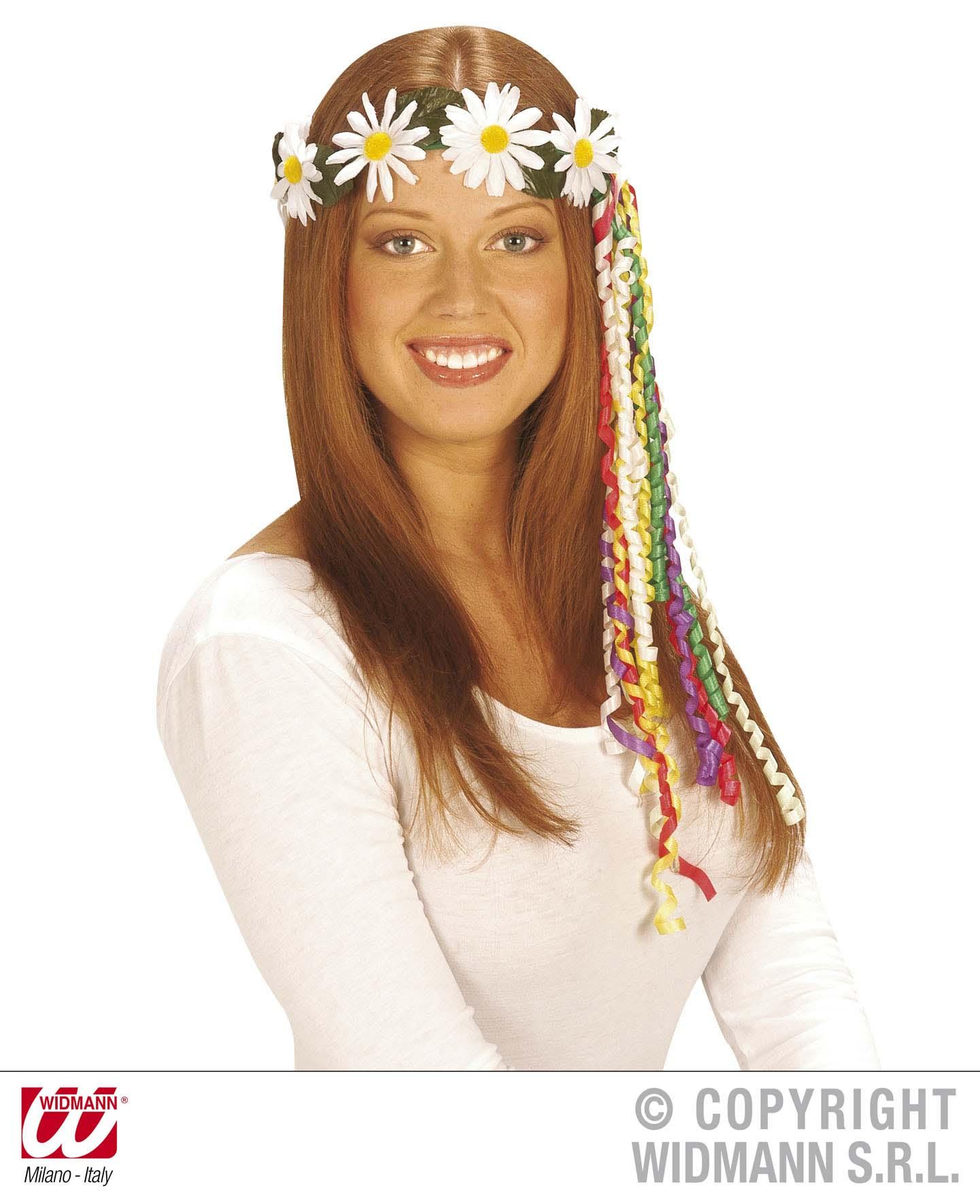 70er MAGERITEN Blütenkranz, Bänder,  Flower Hippie   2432