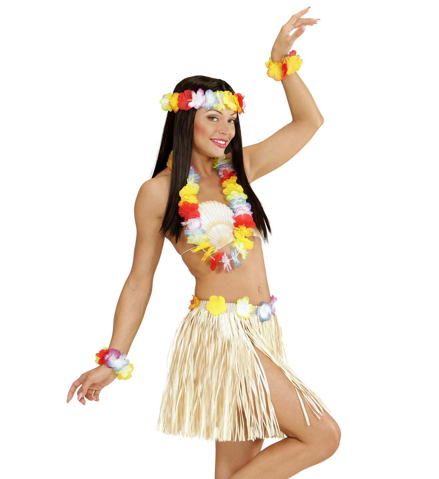 5 tlg.Hawaii Set, Rock, Kette, Armbänder, Blütenkranz Damen