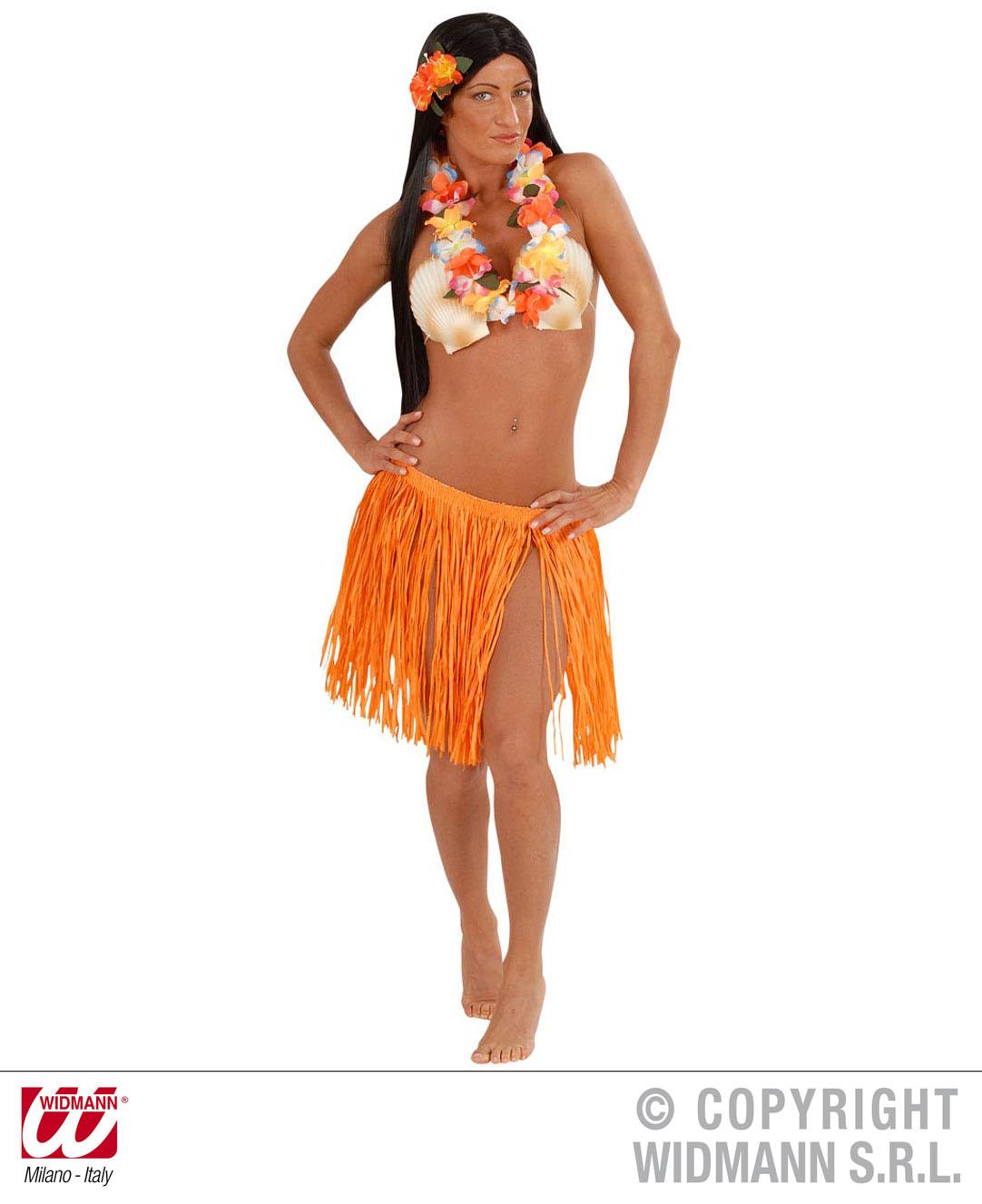 2 tlg.Hawaii Set, Rock ca. 45 cm u. Hawaii Kette orange,gelb, blau,pink