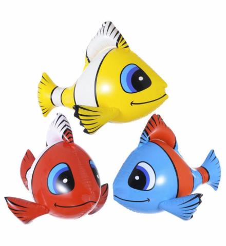 3 Deko Fische, 3 Farben  je ca. 60 cm lang aufblasbar, Karneval. Mottoparty