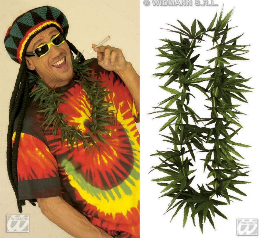 HANF Blütenkette, Canabis, Reggae, Hippie Motto Kostüm  2765