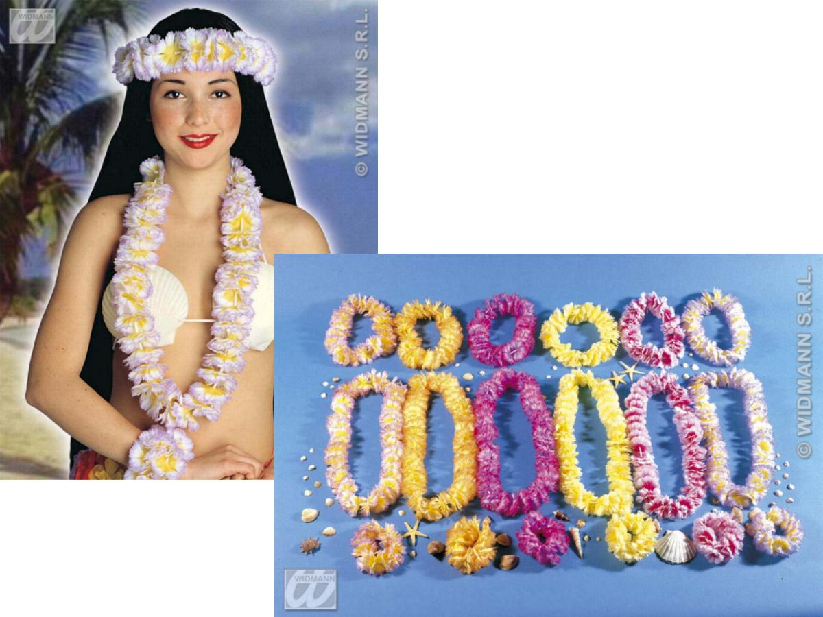 3-tlg.Hawaiiset/ dicke Hawaiikette Lei, Blütenkrone u. Armband  2768