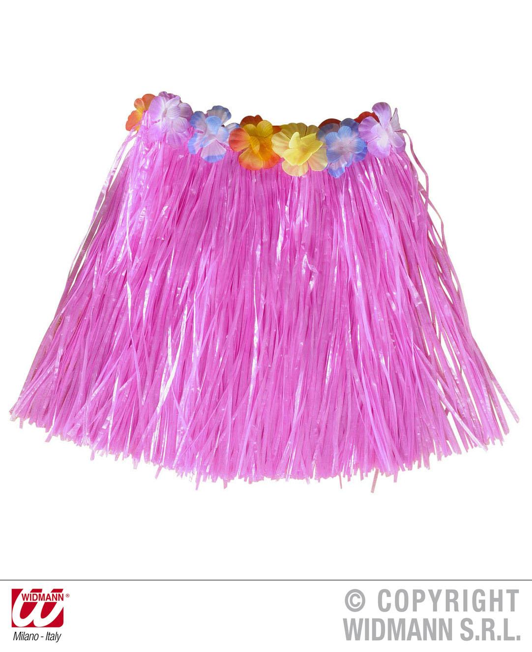 Hawaii Rock Hawai Bastrock + Blumengürtel kurz pink, natur, Kinder