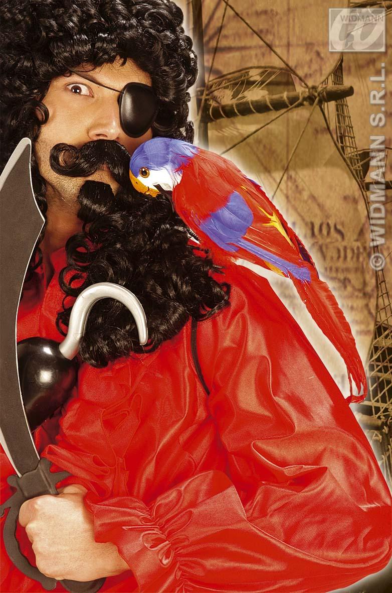PAPAGEI, 37 cm, grün, rot echte Federn Deko, Hawaii, Pirat, Motto