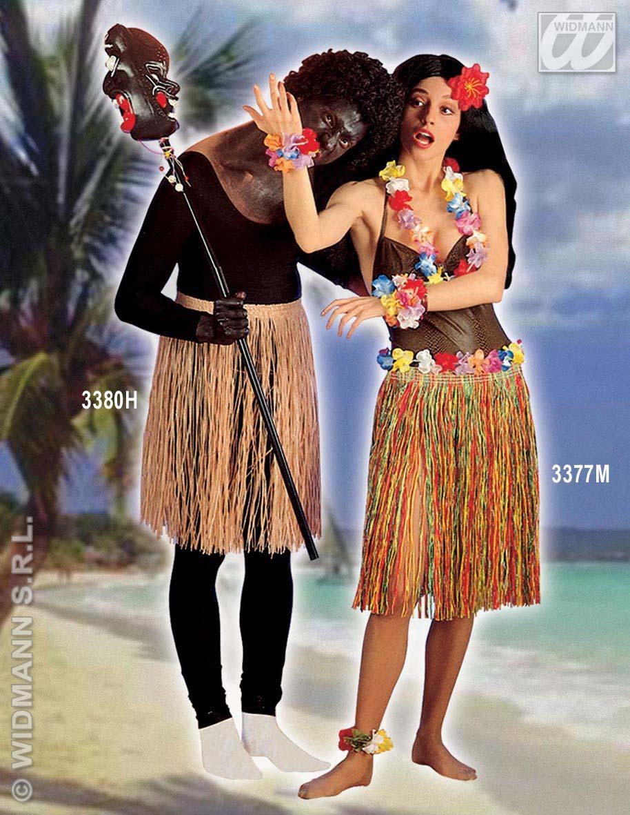 Hawaiirock (Hawai) Bastrock Rock Hula  BUNT 55cm Damen Sommer Party