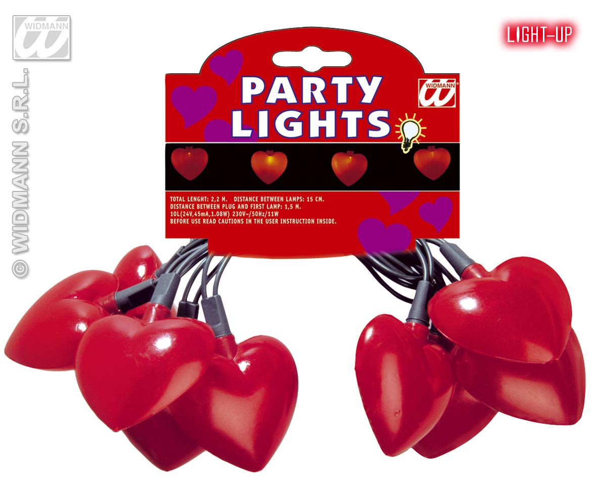 10er Lichterkette Beleuchtung HERZ, 2,2 m  Party, Sommer, Valentin