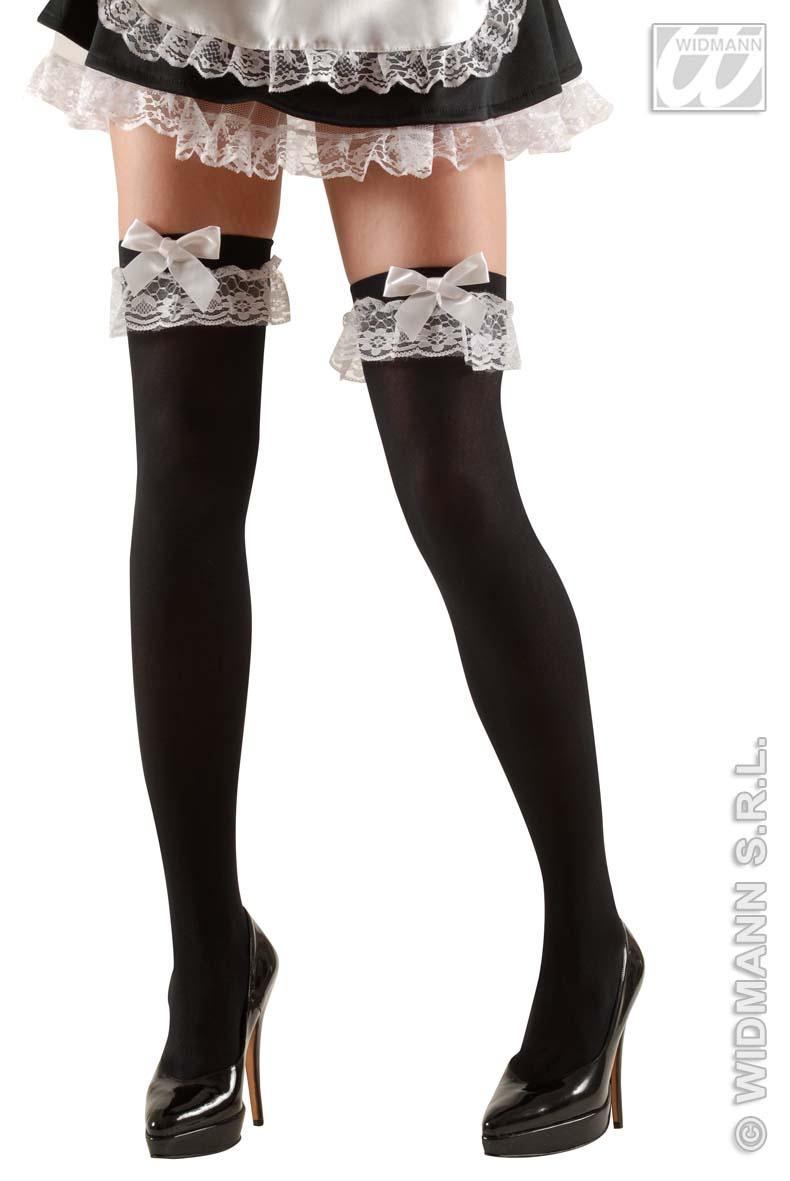Zimmermädchen,halterlose schwarze Strümpfe 70 DEN,Spitzenband S/M, XL