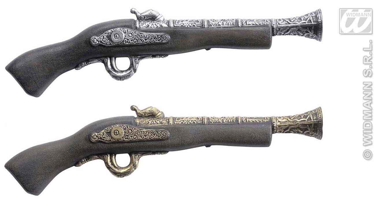 PIRATENPISTOLE Pirat, Pistole, 2 Farben, gold, silber Länge 42 cm