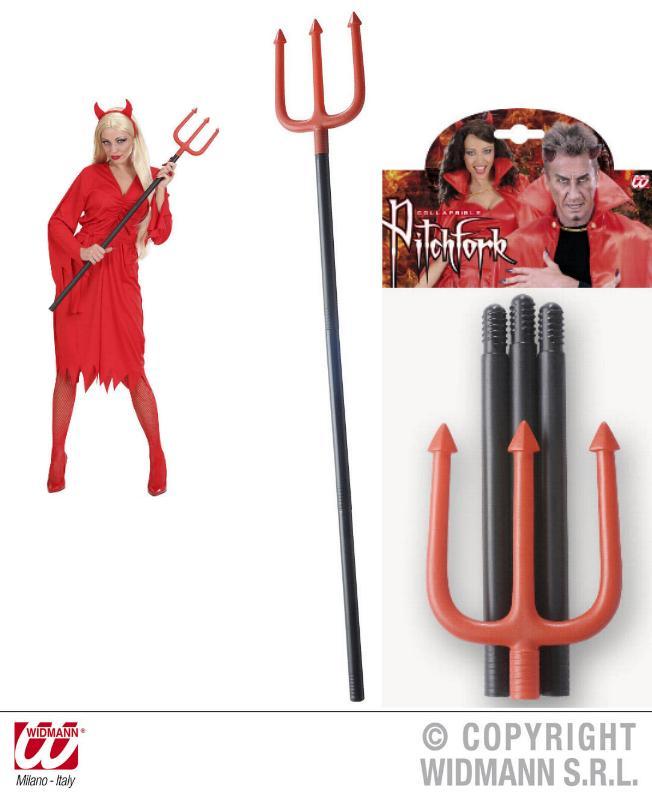 Dreizack, Teufelsgabel, 114 cm, rot-schwarz, Karneval