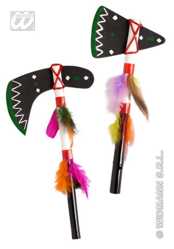 Indianer Beil, Tomahawk , Zubehör 28cm, Gummi m. Federn 6986