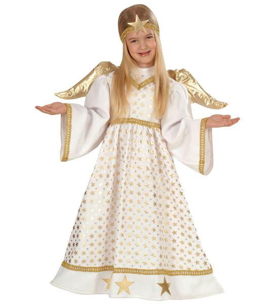 3 tlg. Engel Kostüm lang Kinder Mädchen Sterne weiß - gold  98, 104
