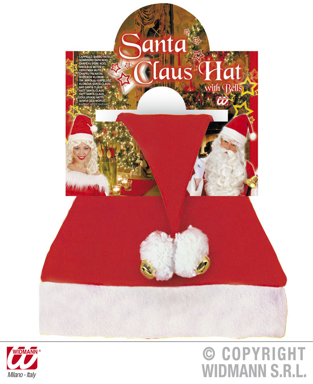 Weihnachtsmütze, Weihnachtsmann Mütze + 2 Glöckchen und 2 Bommel