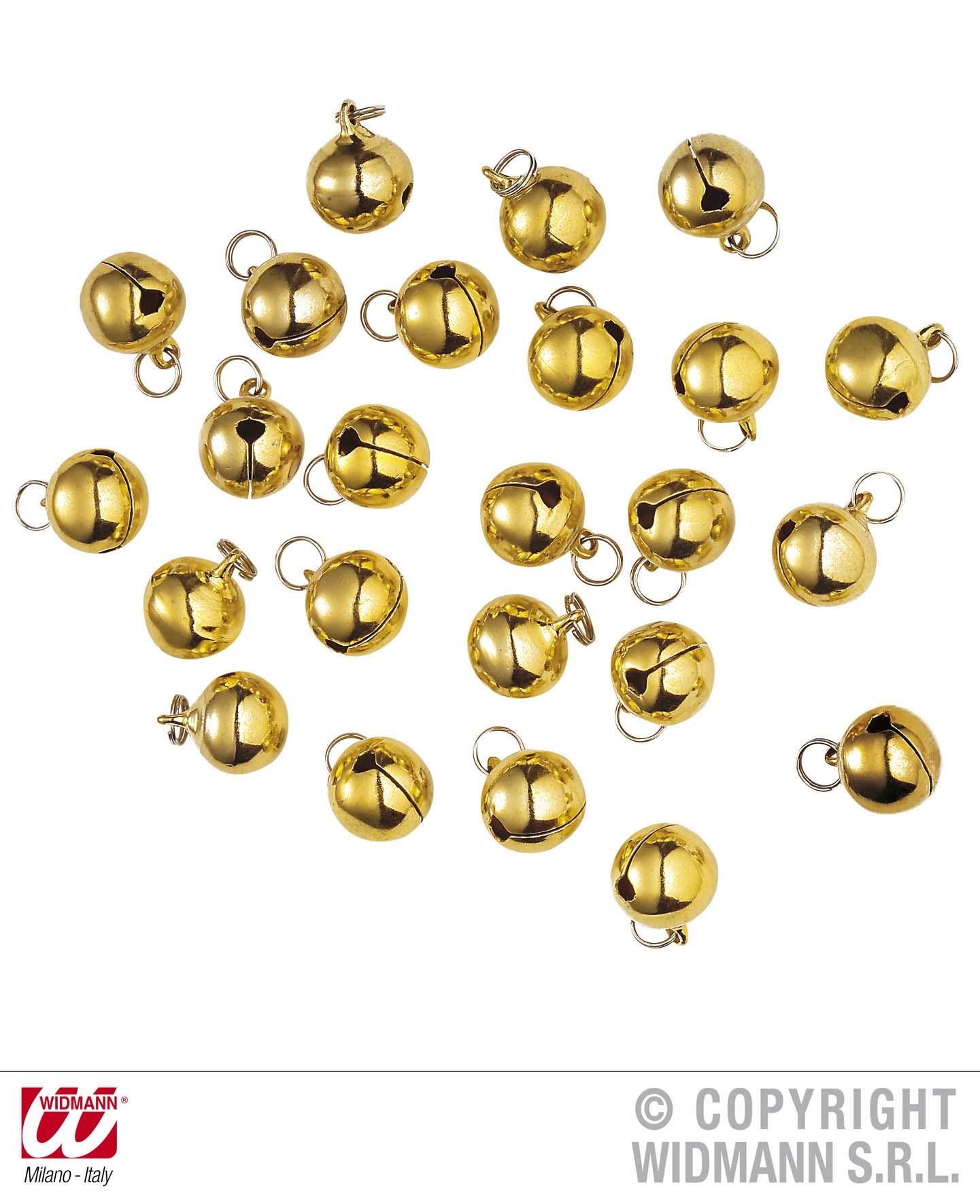 24 Weihnachtsglöcken, Glöckchen Messing, gold, Schellen mit Öse