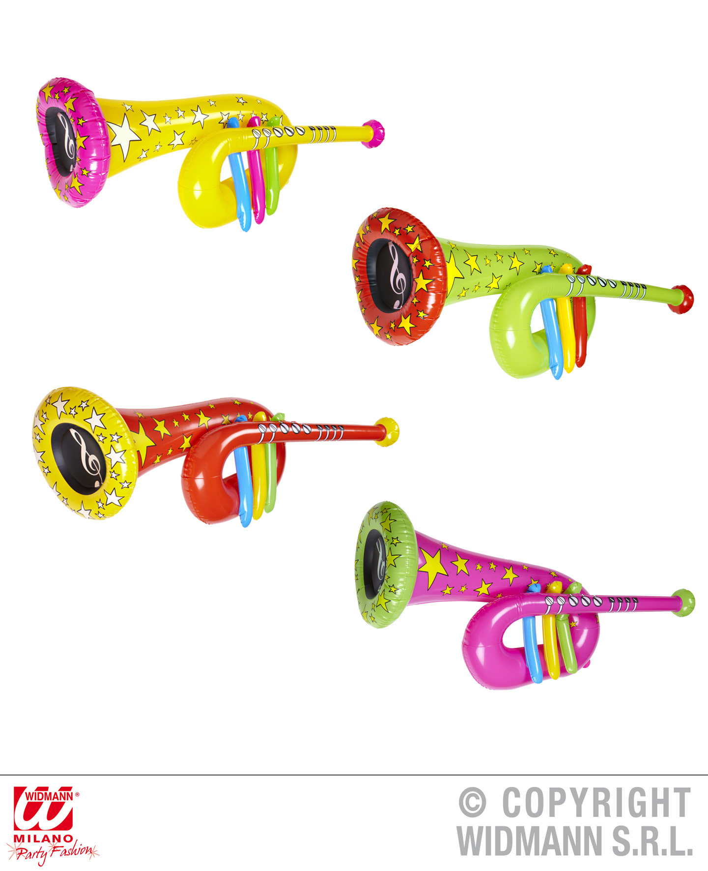 TUBA aufblasbar ca. 63 cm, Clown, Trompete, gelb,grün,rot,pink