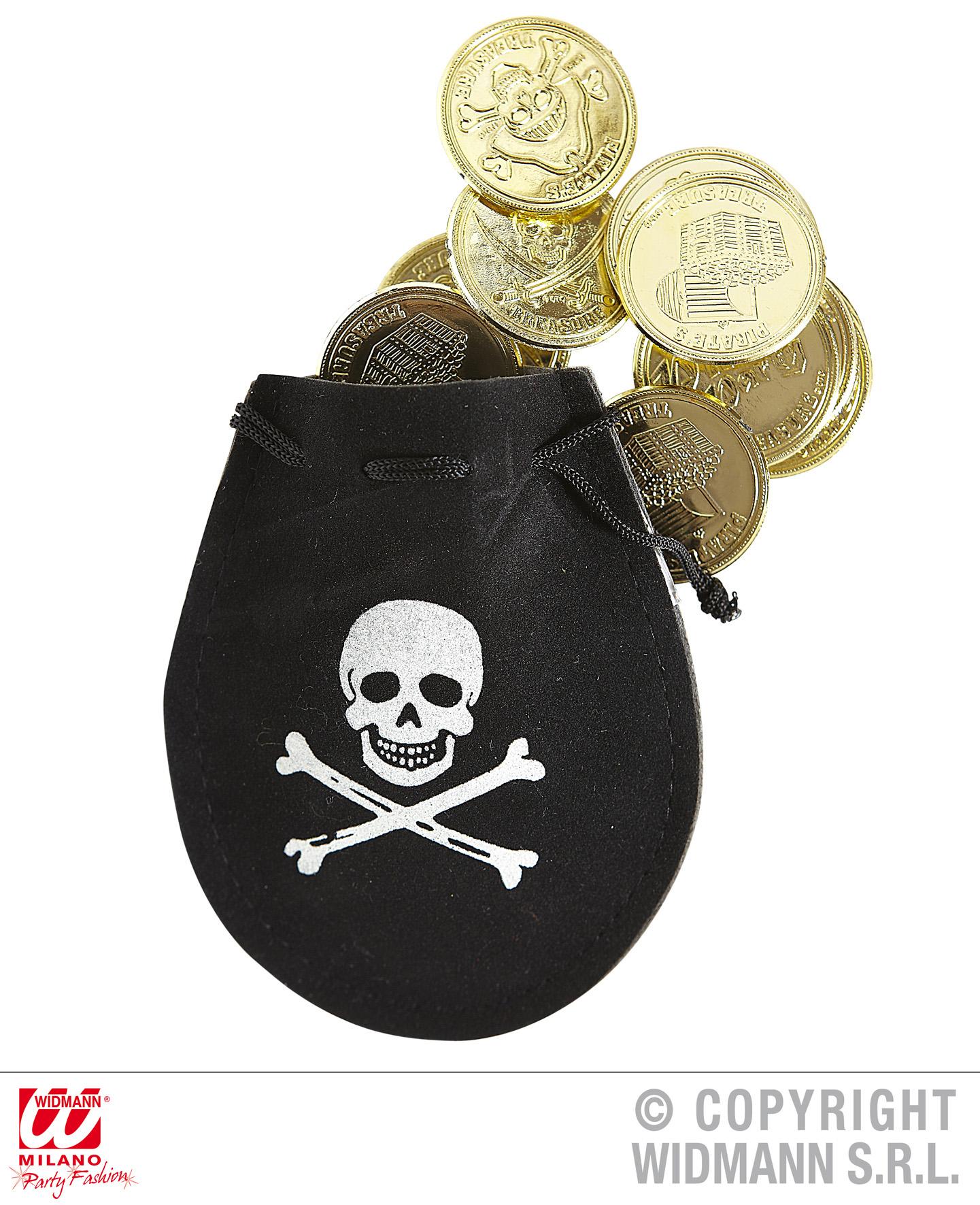 12x Piratengold, Geld, Dukaten, Münzen im schwarzen Säckchen
