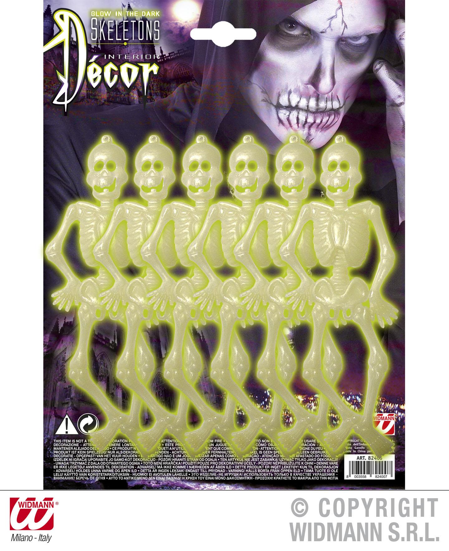 6 x  Leucht Skelett z. Aufhängen, 16 cm, leuchten im dunkeln