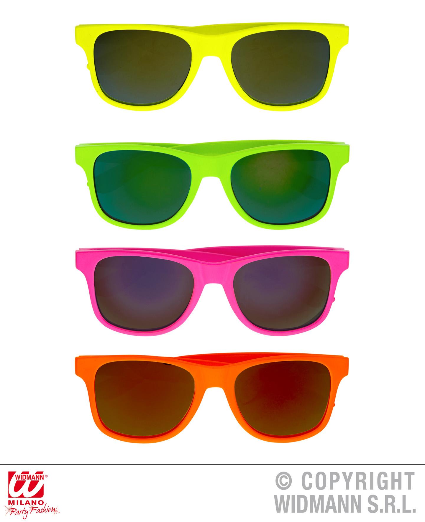 Neon Brille, Wayfarer verspiegelt, 80er Jahre pink,gelb,grün,orange  333