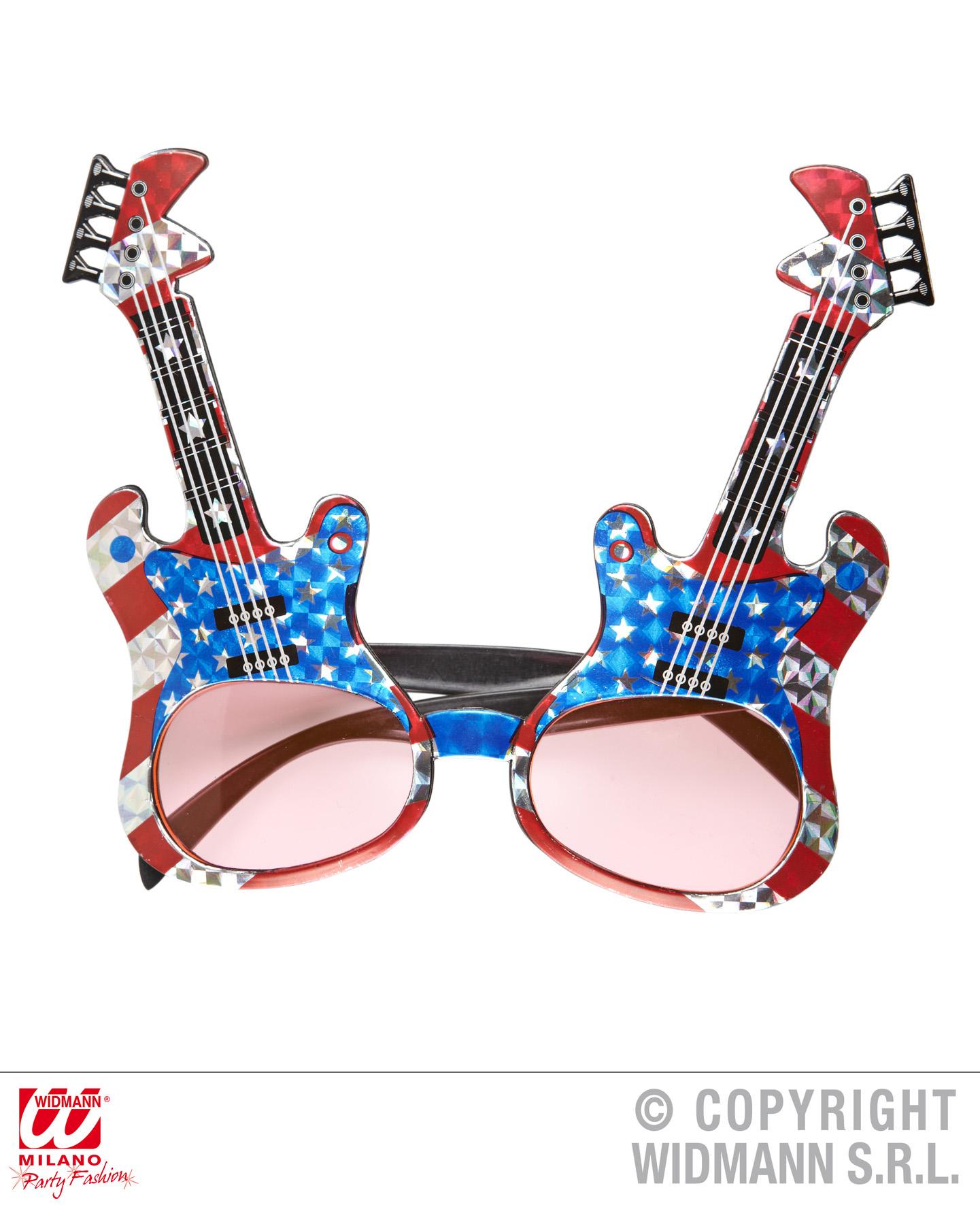 Brille mit Gitarren, Rocker  Mottoparty 345