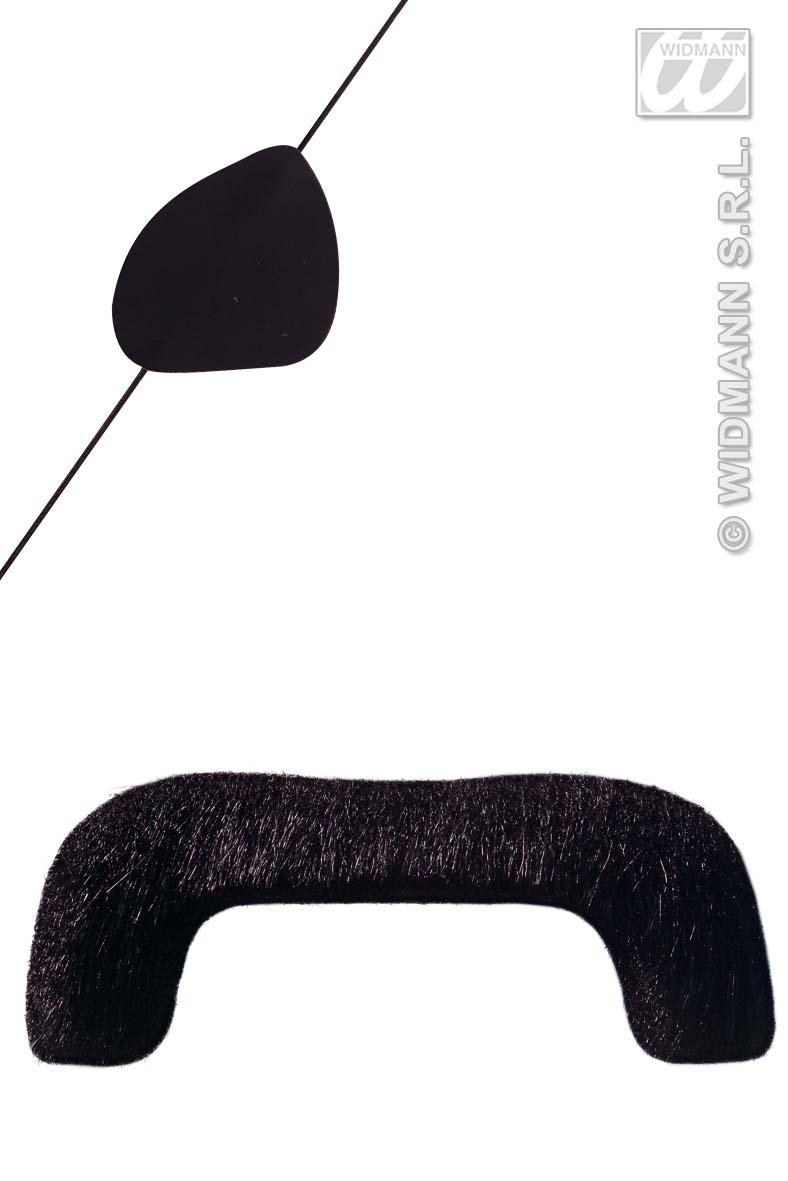 Schnäuzer, Schnauzer+ Augenklappe ,Oberlippenbart ,schwarz Bart Seeräuber, Pirat