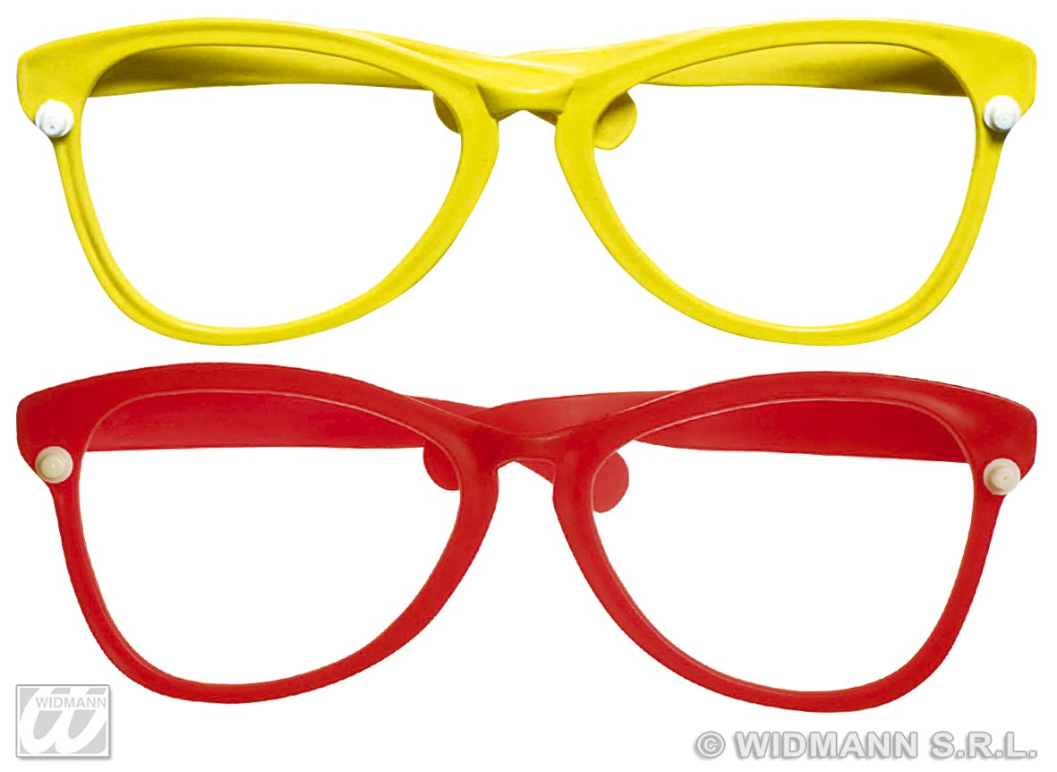 Spaßbrille, Clown, Riesenbrille ohne Glas, rot, gelb Karneval  1325