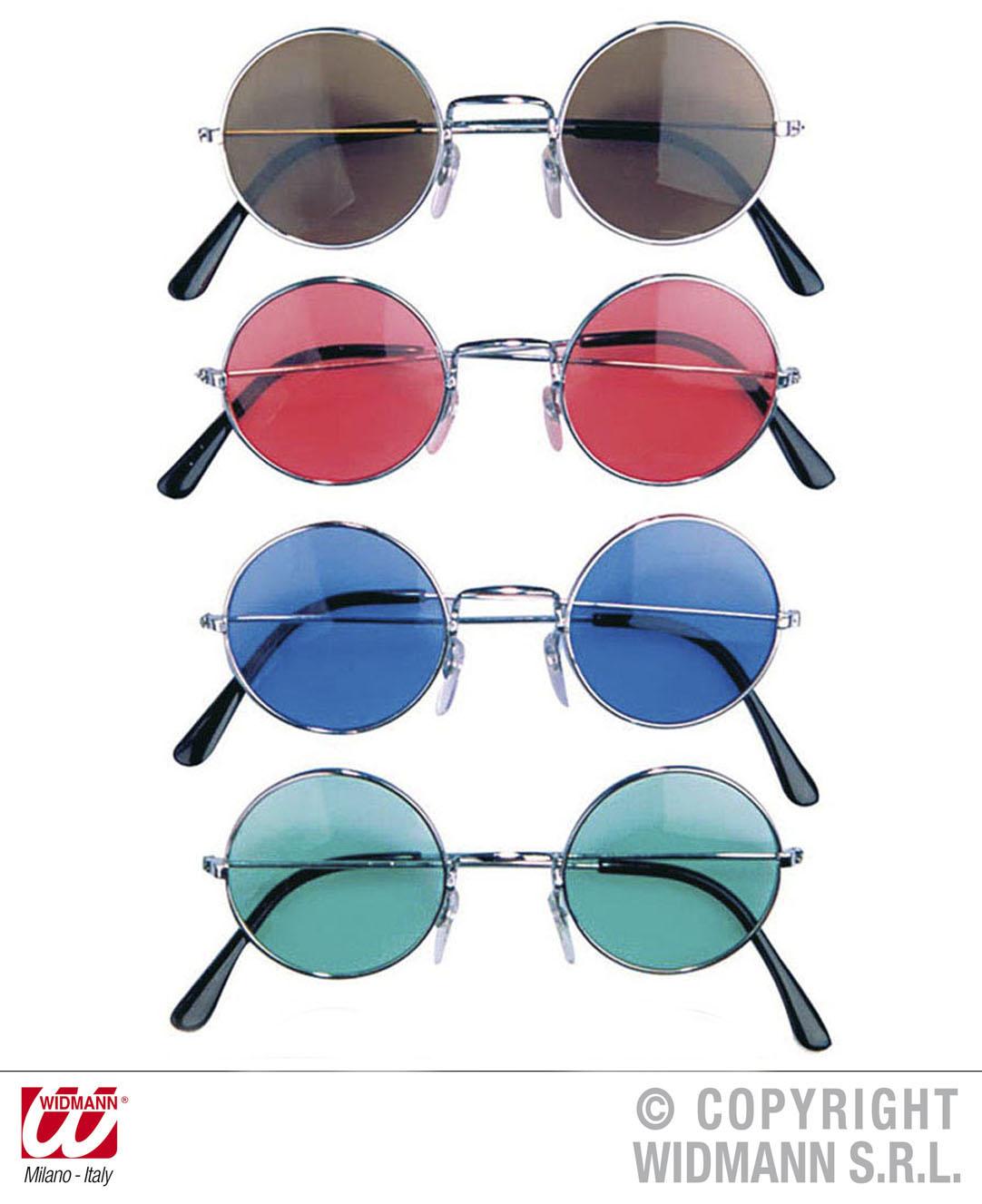 Lennon Brille, 70er rund Retro Hippie braun, rosa, blau, grün