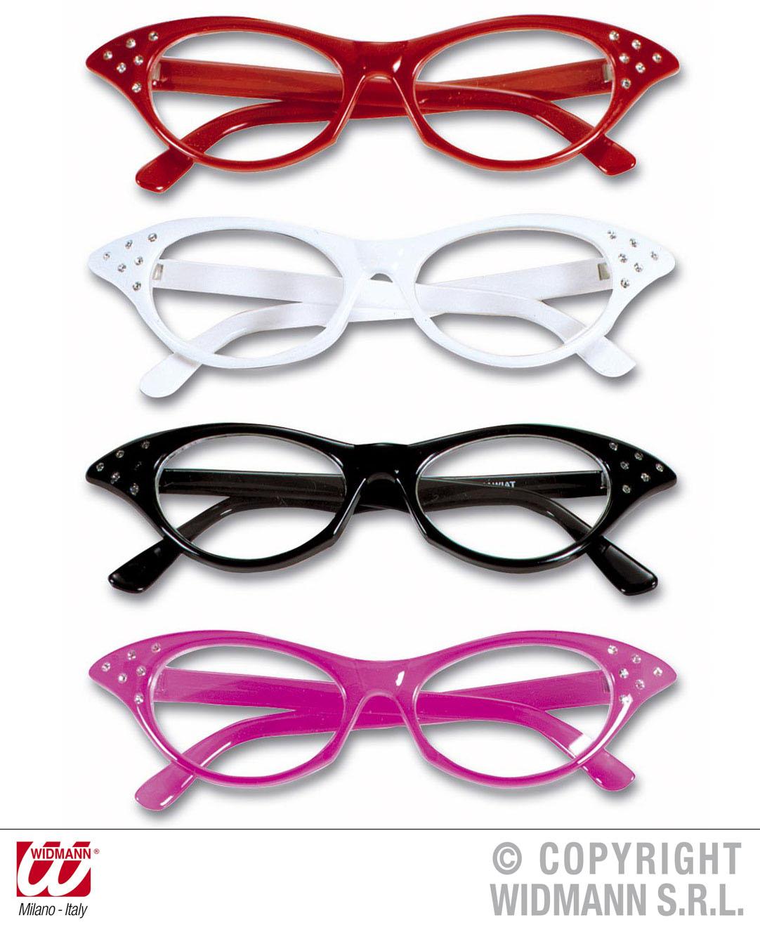 60er Jahre Brille, Katzenauge, weiß, schwarz, rot, pink, Mottoparty 6741